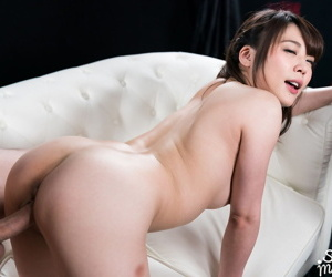 Pretty Japanese girl takes a creampie while riding on top a cock