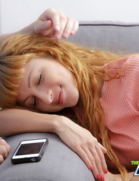 Sleeping redhead Janette is roused from her slumber for a hard fuck