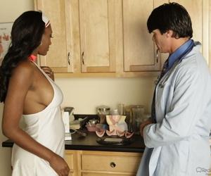 Busty ebony nurse Nyomi Banxxx gets dicked & big tits sprayed by the doctor