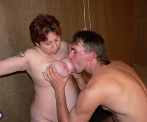 Mature female slave Kurina gets her big juggs worshipped before getting fucked