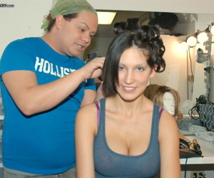 Brunette chick Mindy Main gets a makeover before a 3some with the Madisons