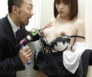 Japanese girl Haruna Sendo bares her hard nipples and bush under threats
