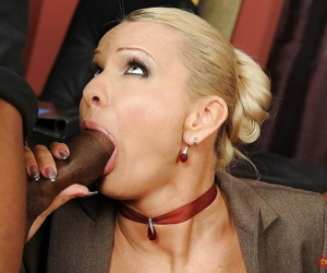 Mature Winnie sucking a huge black cock and has double penetration sex