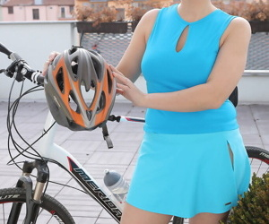 Mature biking babe Charlotta Rose shows saggy tits & spread muff closeup