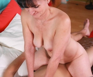 Older lady Ginger Kovra enjoying hardcore sex with younger in knee socks