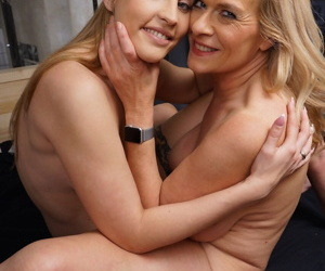Older mature woman seduces a younger girl for hot lesbian toying & tonguing