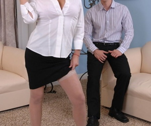 Busty mature Rebecca Bardoux teases her son-in-law with hot panty upskirt