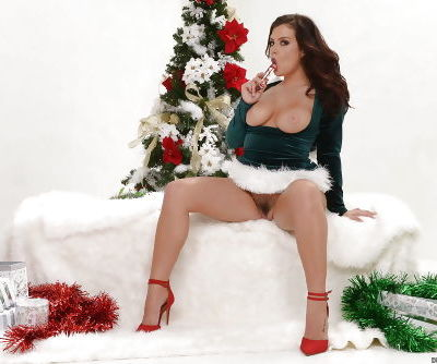 Chesty Elf Keisha Grey flashing big juggs and bald pussy for Christmas