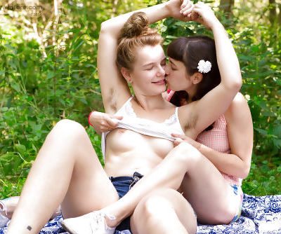 Hairy lesbians Lulu and Yara head outdoors for all natural lovemaking