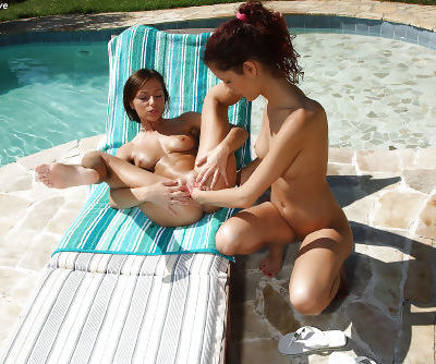 Graceful amateur lesbian fisting her friends pussy outdoor