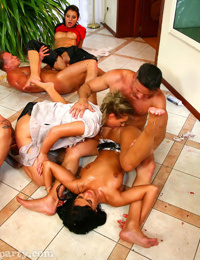 Lecherous cock-hunters have a wild groupsex with studly lads