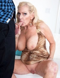 Naughty blonde granny Layla Rose entices her grandsons best friend