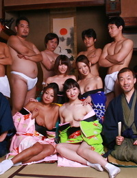 Hot youthful Japanese models eliminate their kimonos for raunchy group spandex