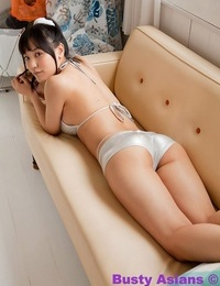 Busty asian yuri posing her natural big tits in silver swimsuit - part 4495