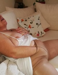 Horny grandmother slips hands down pantyhose to jack