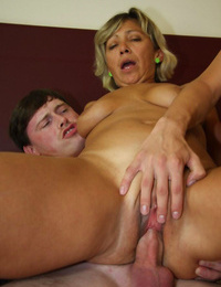 2 guys screwing this nasty blond granny whore - part 4563