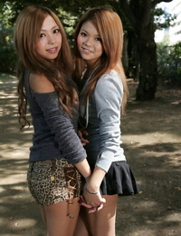 Stunning Japanese schoolgirls Tsubasa and Kanon making out in public