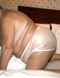 Obese granny Grandmalibby eliminates undergarments and lingerie to model nut sack nude