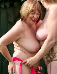 Fat grandmothers gobble beaver and puffies during sapphic lovemaking on the lawn