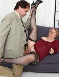 Aged Plumper Penny Sue gets a facial cumshot after hiking her crimson dress and getting torn up