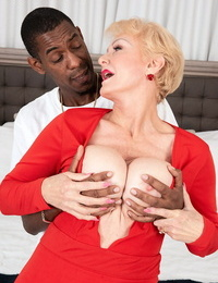 Ash-blonde granny Seka captured seduces a dude with a big captured hard-on in his trousers