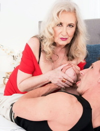Horny oma Blair Angeles tempts a young boy for sexual relations