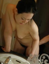 Asian Mummy Sonoko Yoneda taking shower and taunting her shaggy vulva