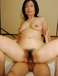 Slutty mature asian girl gives a suck off and gets her furry beaver banged tough