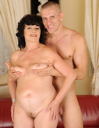 Fatty grandma Helena May gets her mature coochie and face dicked by stud