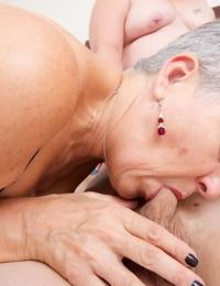 Round mature granny Savana & her huge pal share thin cock in threesome