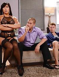 Asian beauty Mia Li taking double penetration from two large cocks